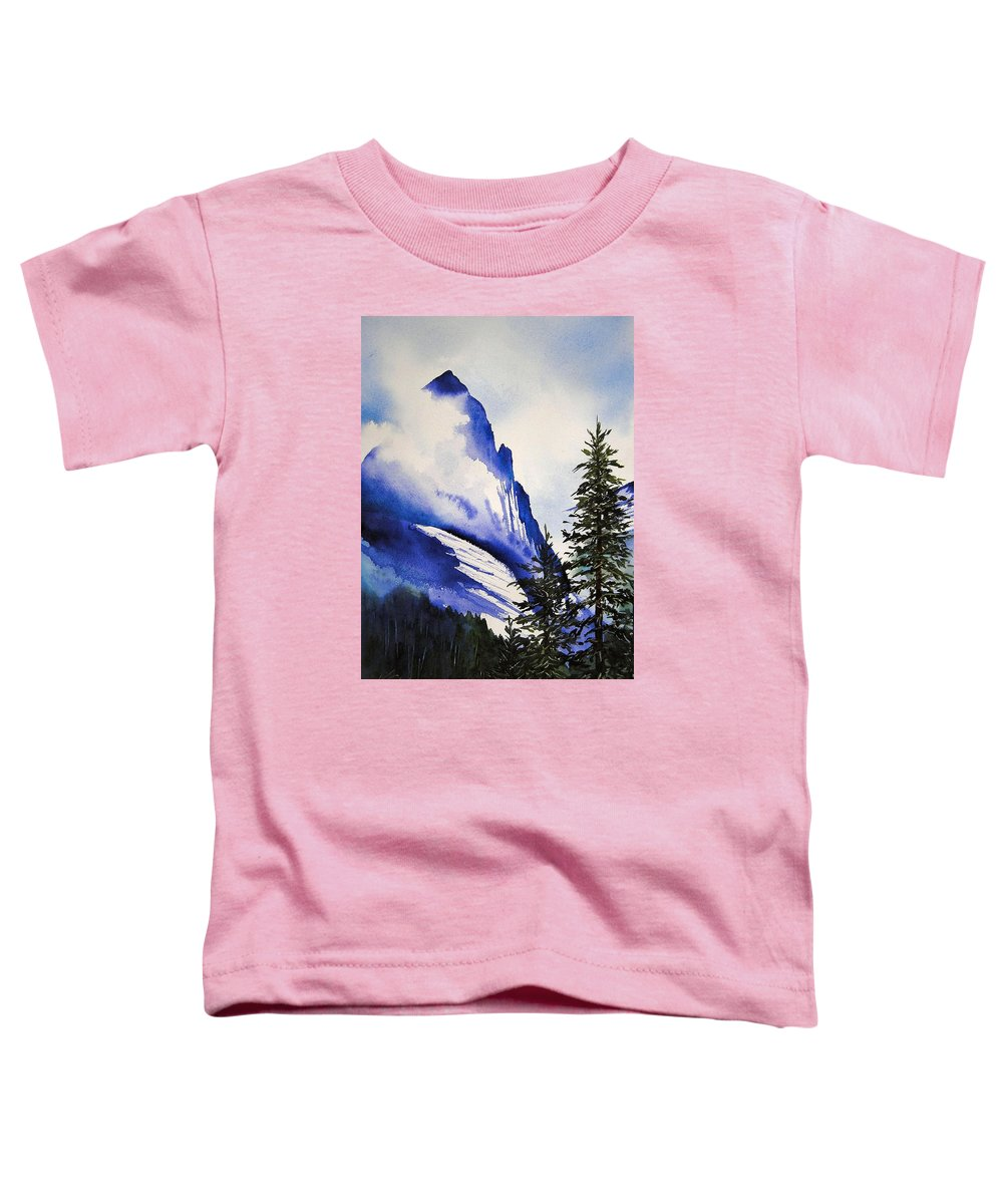 Rocky Mountains Toddler T-Shirt featuring the painting Rocky Mountain High by Karen Stark