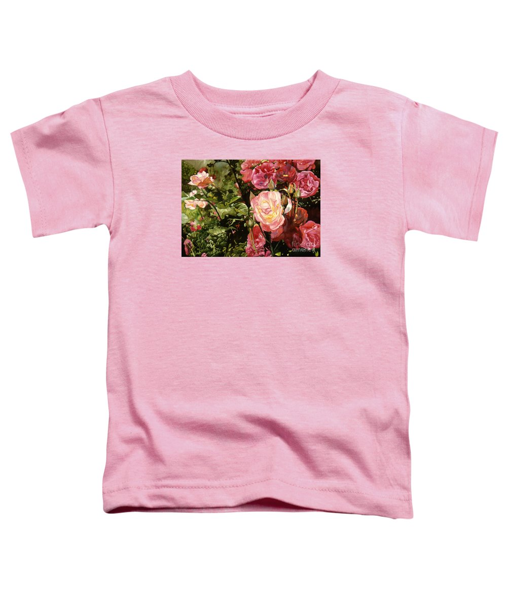 Watercolor Toddler T-Shirt featuring the painting Rose Garden by Teri Starkweather