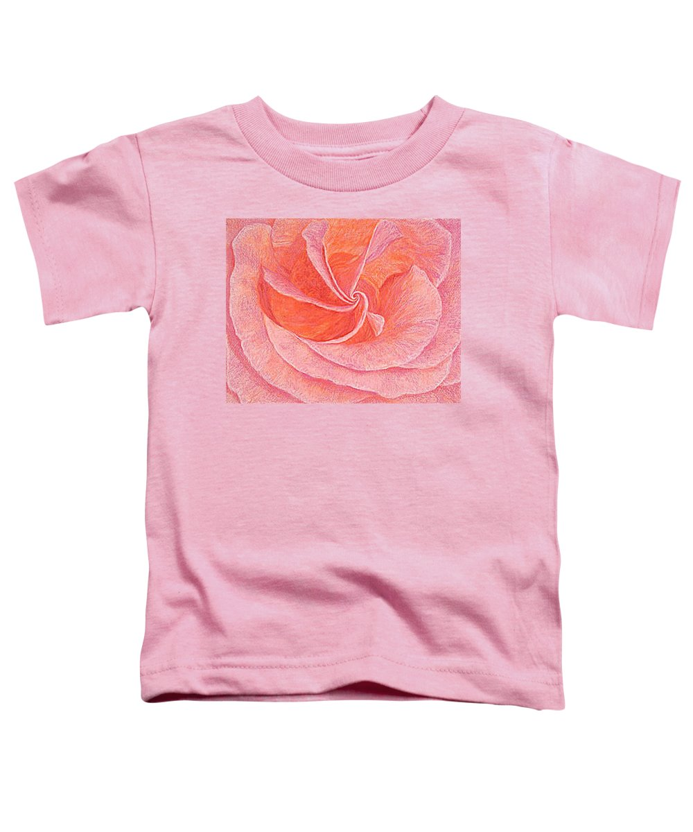 Art Print Prints Fine Giclee Canvas Framed Unframed Rose Pink Roses Garden Floral Flower Flowers Toddler T-Shirt featuring the drawing Rose Sprial Pink Fine Art Print Giclee Garden Flower Floral Botanical Love Romance by Baslee Troutman