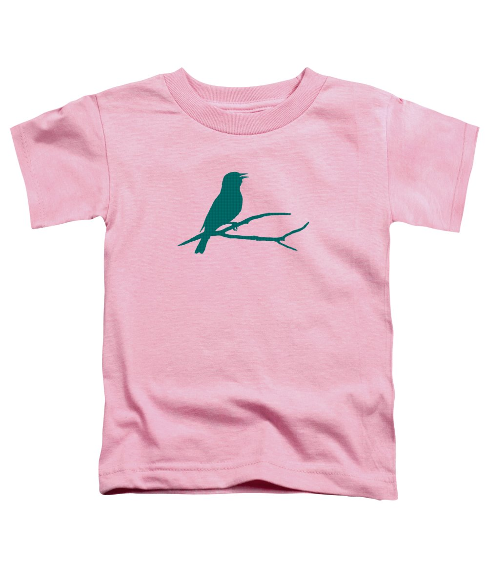 Rustic Toddler T-Shirt featuring the mixed media Rustic Green Bird Silhouette by Christina Rollo