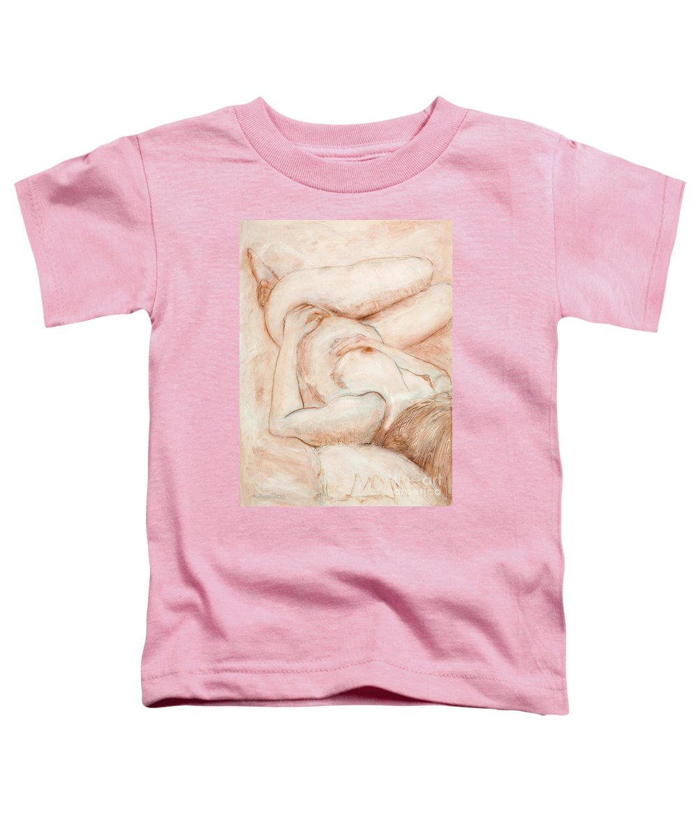 Female Toddler T-Shirt featuring the drawing Sanguine Nude by Kerryn Madsen-Pietsch