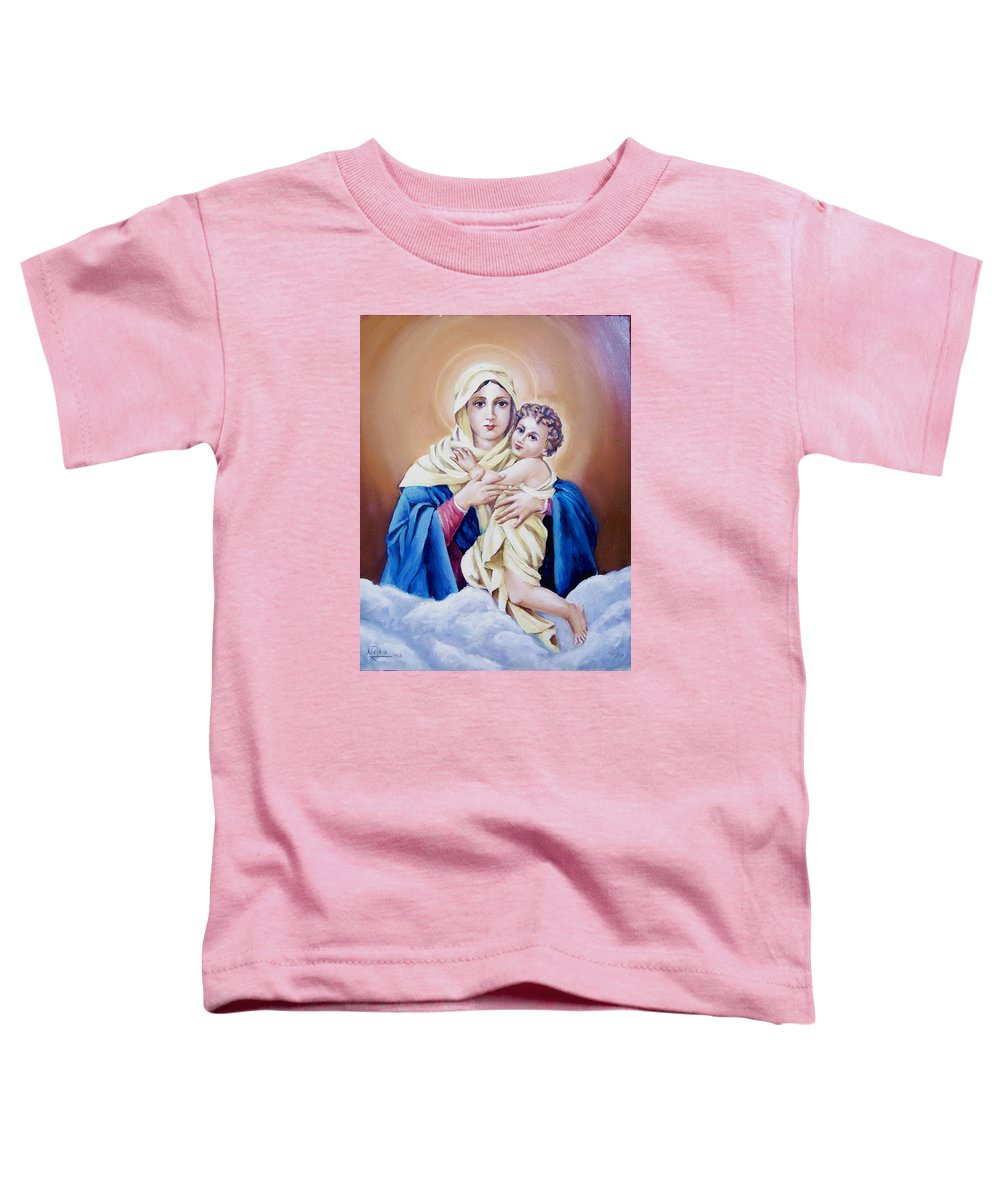 Religious Toddler T-Shirt featuring the painting Schoenstat-tribute by Natalia Tejera