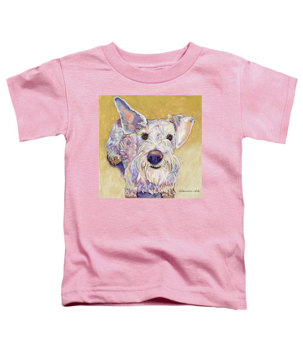 Schnauzer Toddler T-Shirt featuring the pastel Scooter by Pat Saunders-White
