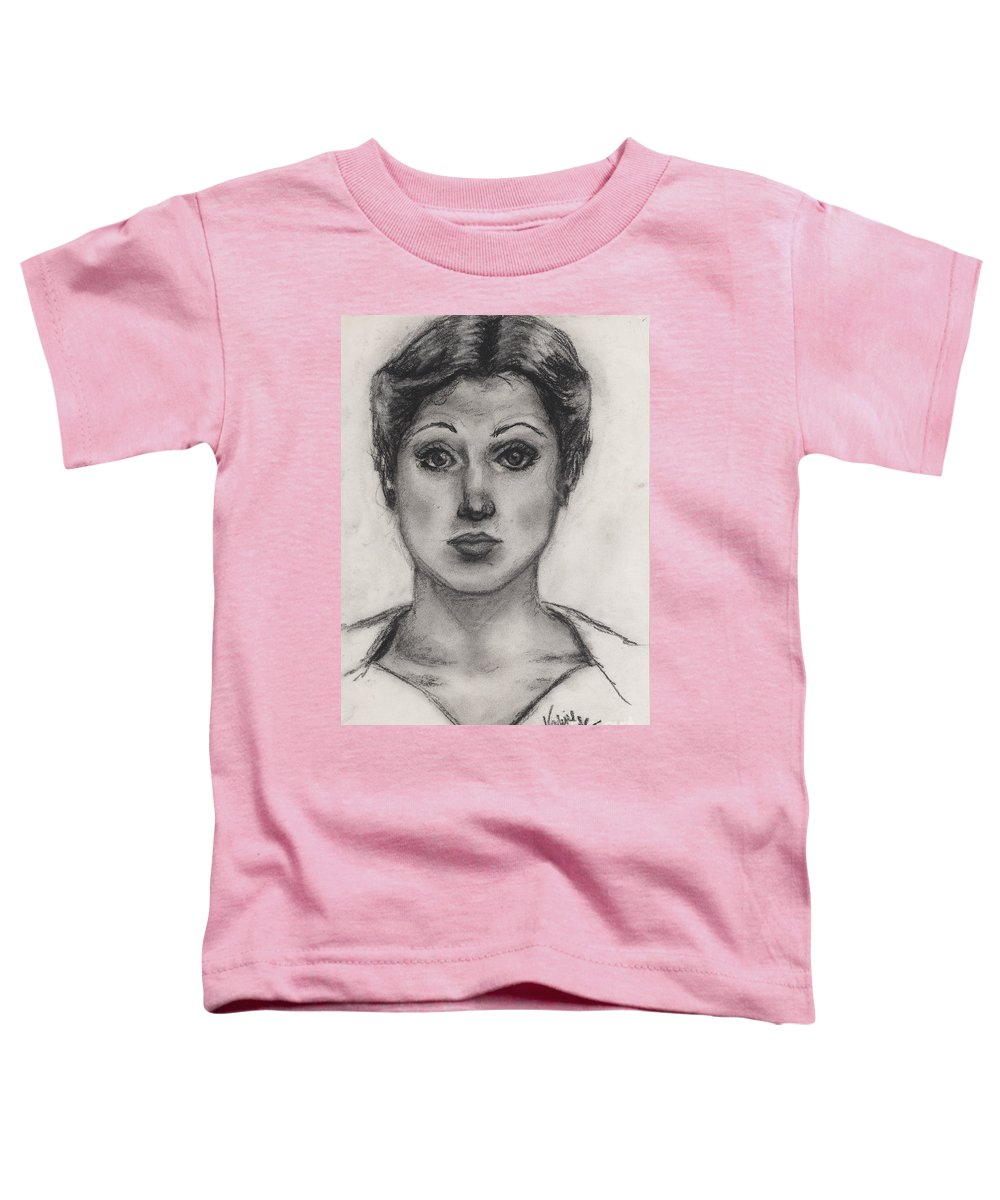 Nadine Toddler T-Shirt featuring the drawing Self Portrait At Age 18 by Nadine Rippelmeyer