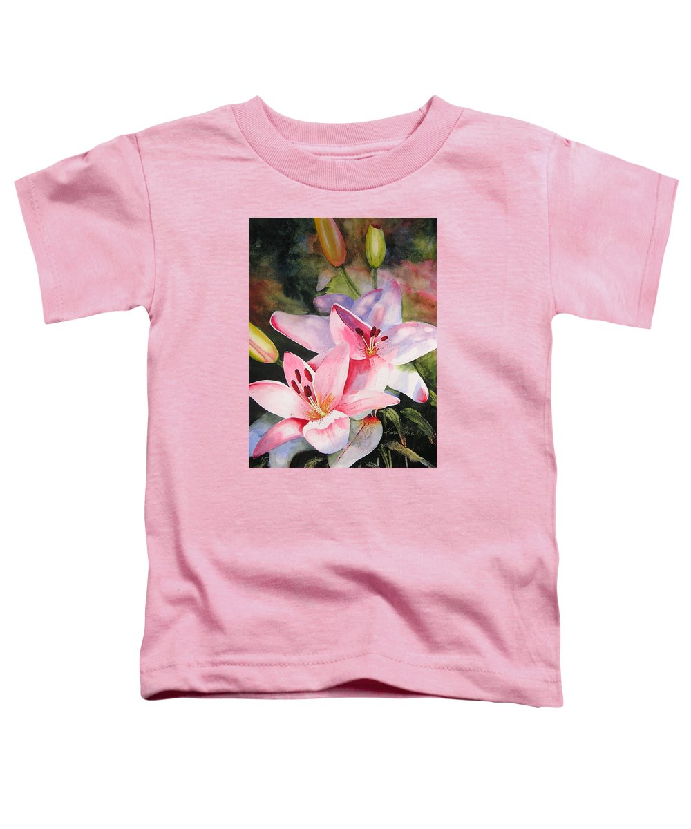 Lilies Toddler T-Shirt featuring the painting Shady Ladies by Karen Stark