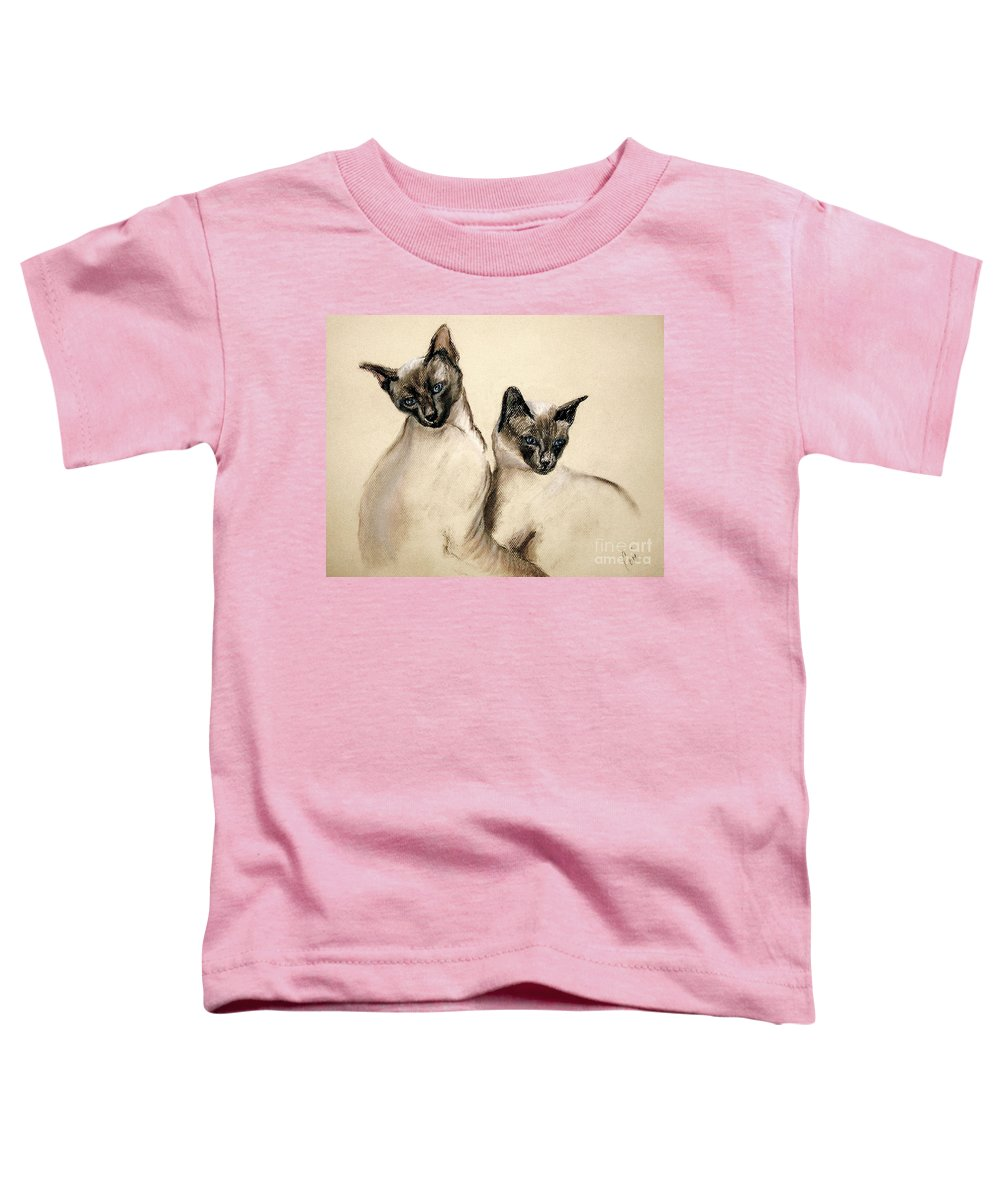 Cat Toddler T-Shirt featuring the drawing Sibling Love by Cori Solomon