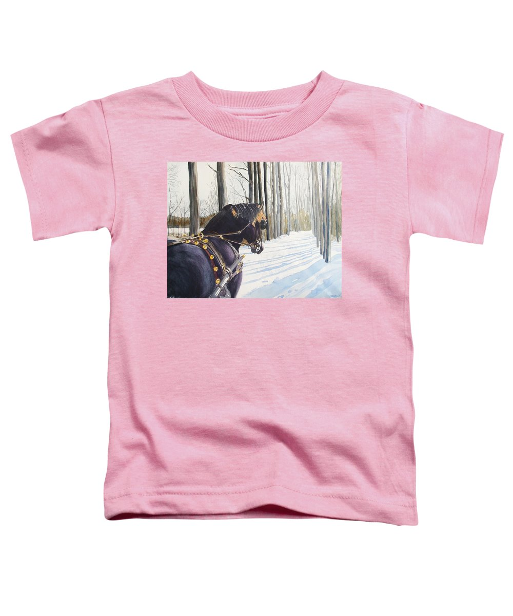 Horse Toddler T-Shirt featuring the painting Sleigh Bells by Ally Benbrook