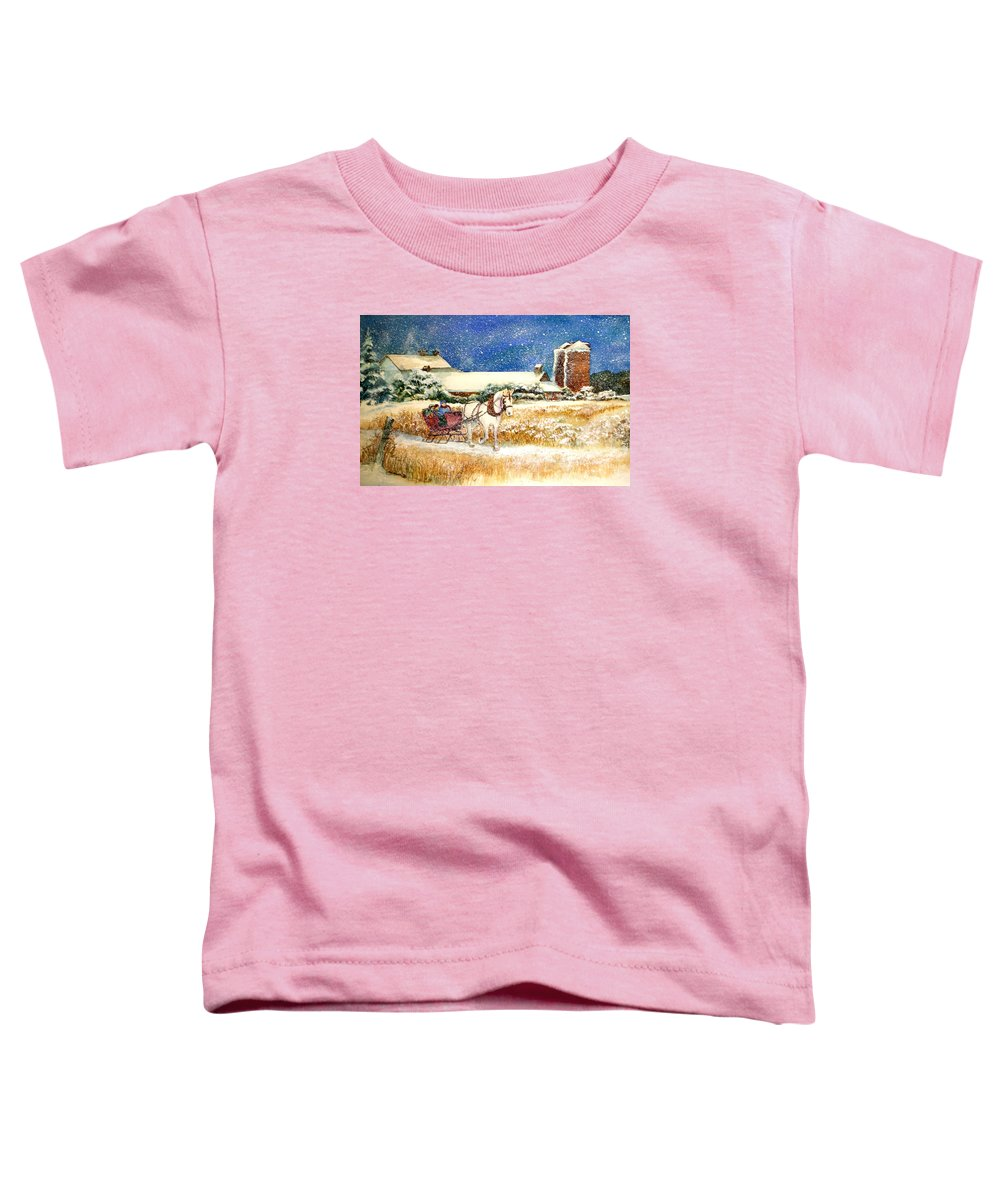 Watercolor;sleigh;horse;barn;silos;winter;snow;sleigh Ride;christmas; Toddler T-Shirt featuring the painting Sleigh Ride At Brickers by Lois Mountz