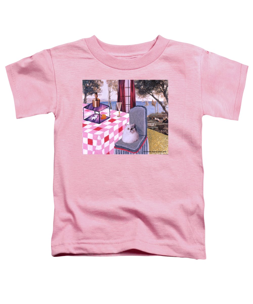 Cat Toddler T-Shirt featuring the drawing Soap Scene #14 Mouse In A Cage by Minaz Jantz