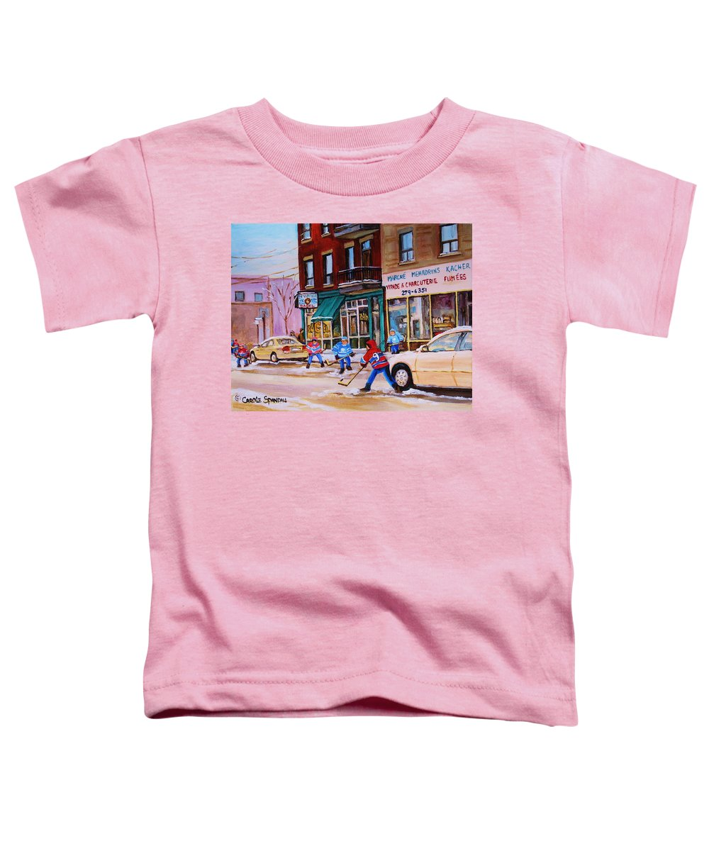 Montreal Toddler T-Shirt featuring the painting St. Viateur Bagel With Boys Playing Hockey by Carole Spandau