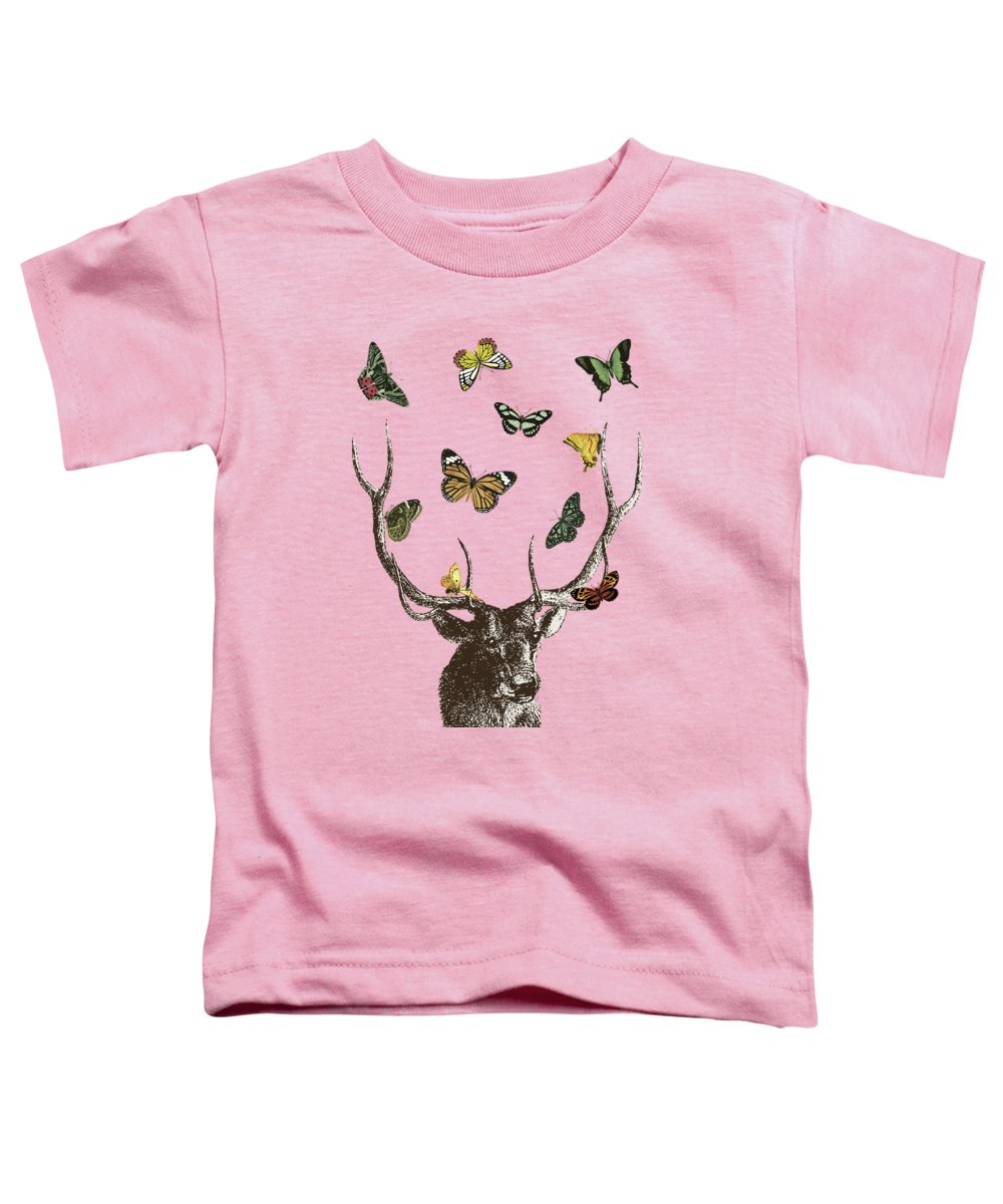 Stag And Butterflies Toddler T-Shirt featuring the digital art Stag And Butterflies by Eclectic at HeART