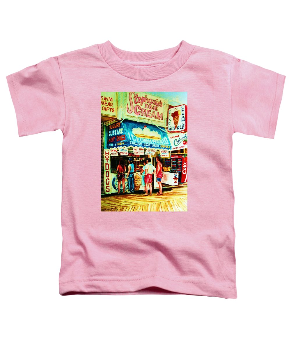 Children Toddler T-Shirt featuring the painting Stephanies Icecream Stand by Carole Spandau
