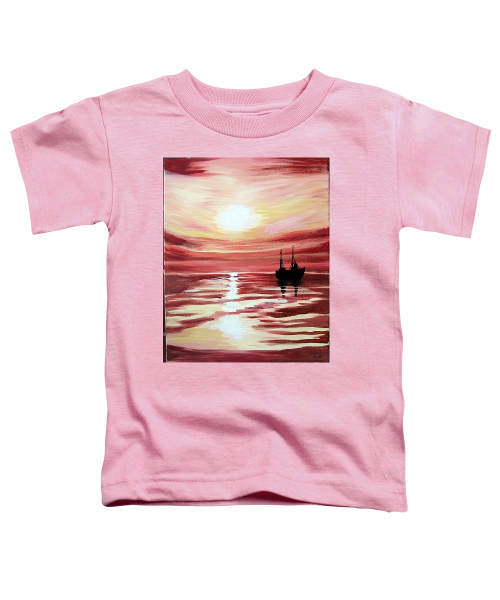 Seascape Toddler T-Shirt featuring the painting Still Waters Run Deep by Marco Morales