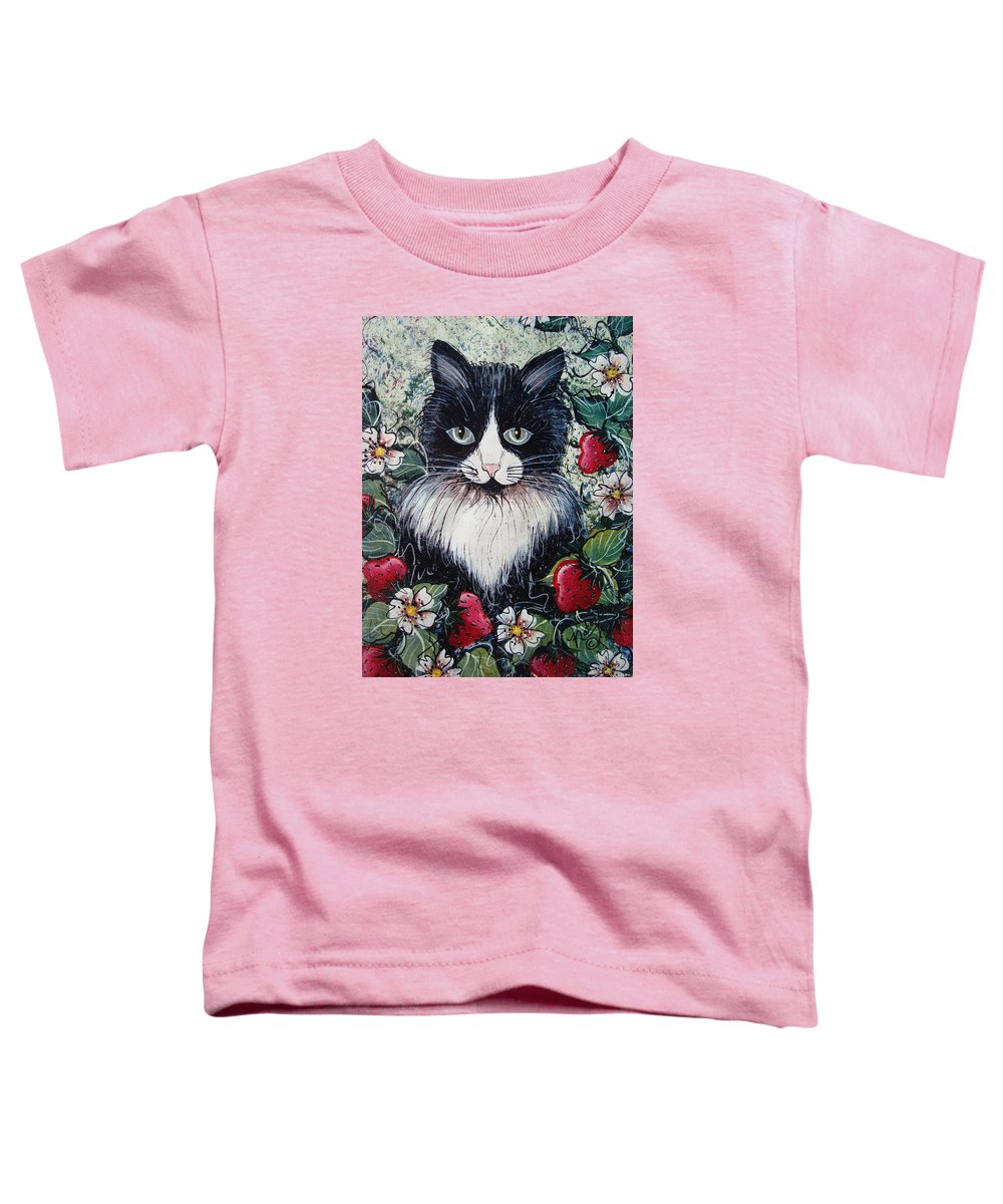 Cat Toddler T-Shirt featuring the painting Strawberry Lover Cat by Natalie Holland