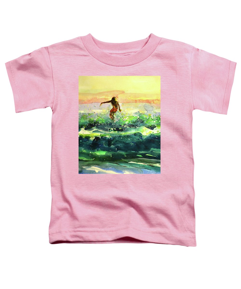 Surfer Art Toddler T-Shirt featuring the painting Study Of A Surfer 1 by Julianne Felton