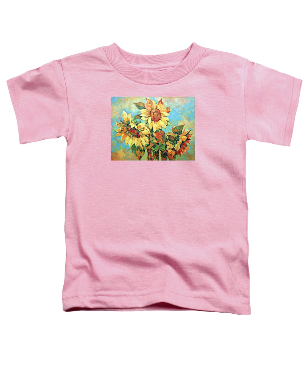 Sunflowers Toddler T-Shirt featuring the painting Sunflowers by Iliyan Bozhanov