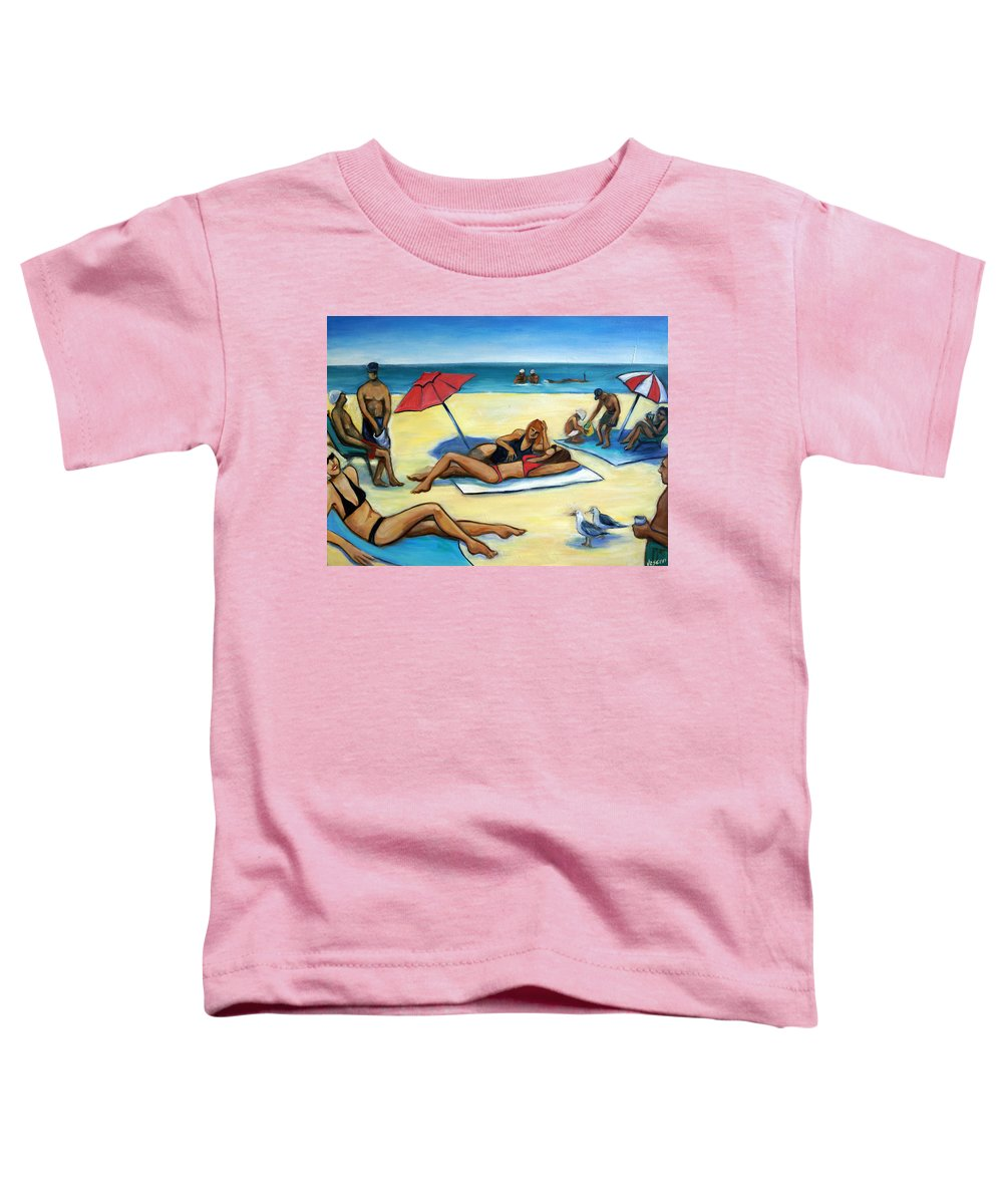 Beach Scene Toddler T-Shirt featuring the painting The Beach by Valerie Vescovi