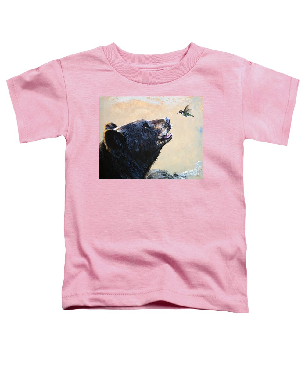 Bear Toddler T-Shirt featuring the painting The Bear And The Hummingbird by J W Baker