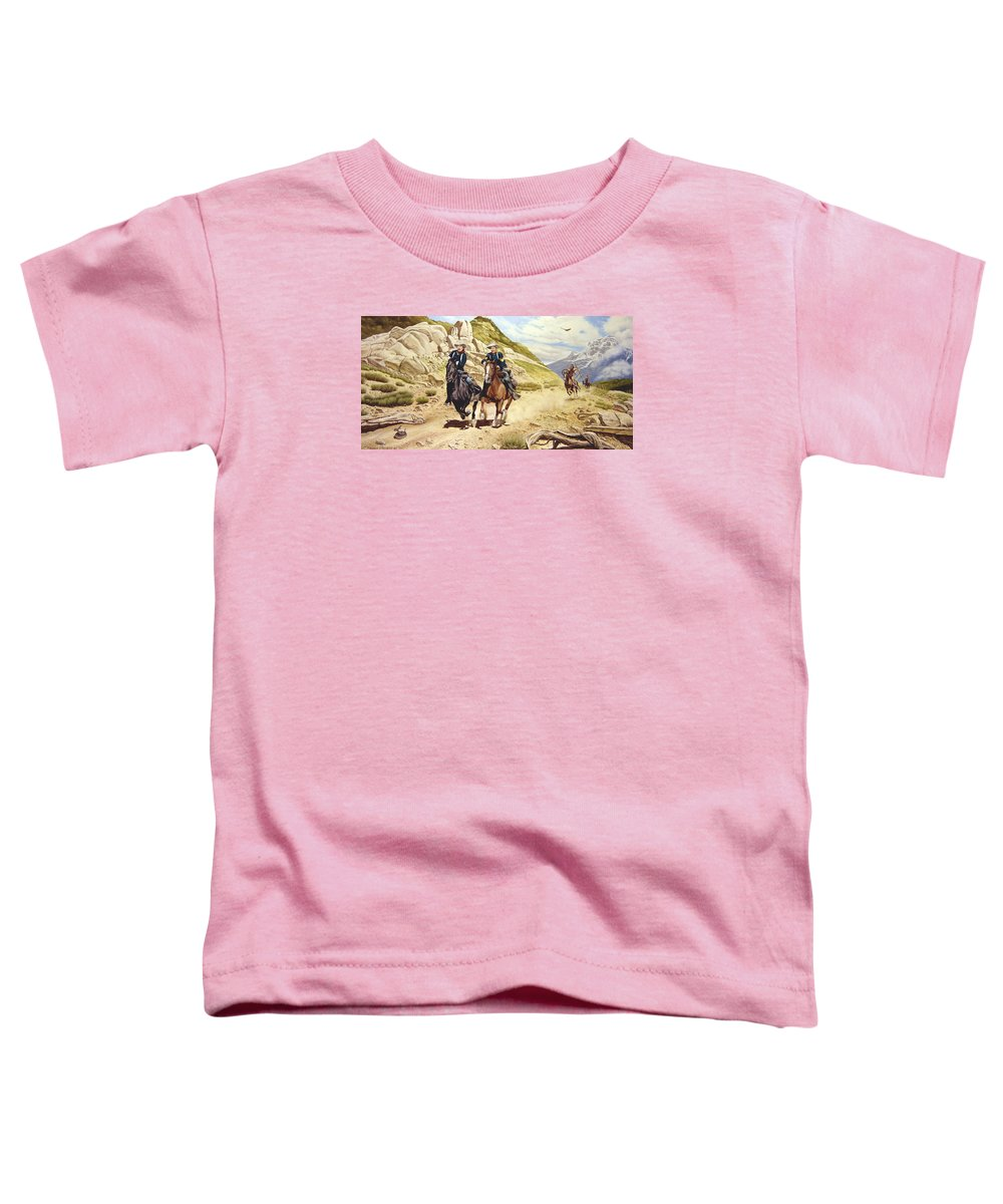 Western Toddler T-Shirt featuring the painting The Chase by Marc Stewart