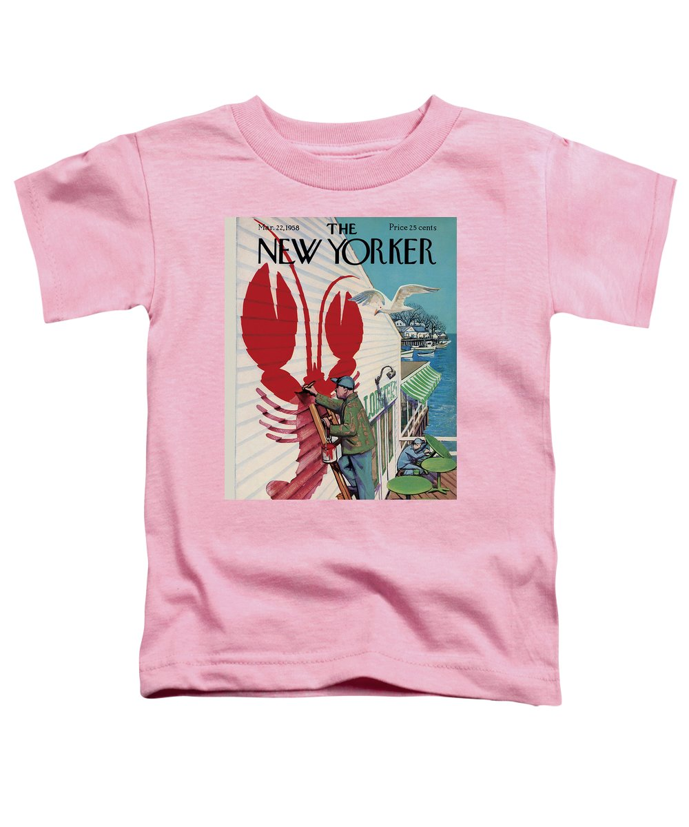 Food Toddler T-Shirt featuring the painting New Yorker March 22, 1958 by Arthur Getz