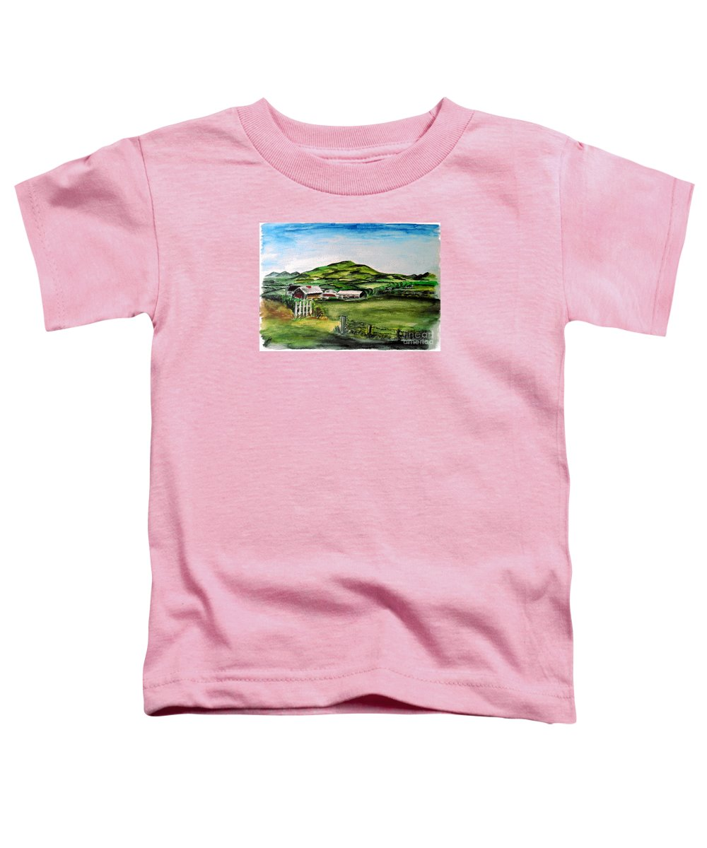 Landscape Toddler T-Shirt featuring the painting The Old Farm by Alan Hogan