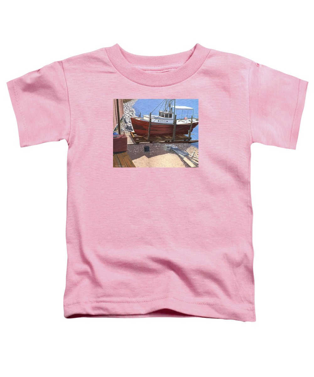 Fishing Boat Toddler T-Shirt featuring the painting The Red Troller by Gary Giacomelli