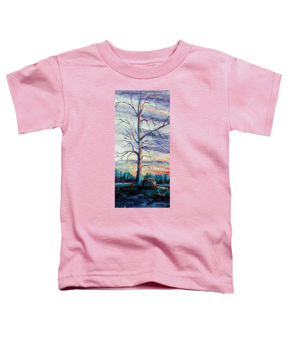 Lone Tree Toddler T-Shirt featuring the painting The Sentinel by Ginger Concepcion