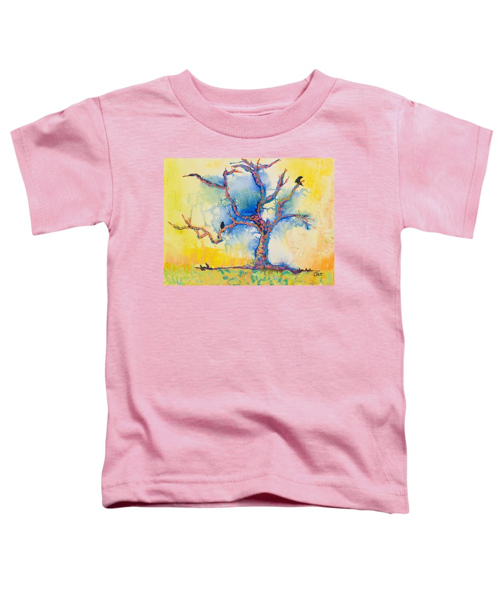 Abstract Painting Toddler T-Shirt featuring the mixed media The Wind Riders by Pat Saunders-White