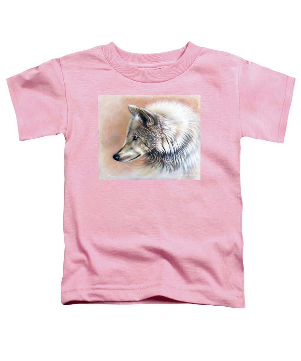 Wolves Toddler T-Shirt featuring the painting Trace IIi by Sandi Baker