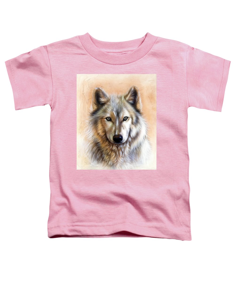 Wolves Toddler T-Shirt featuring the painting Trace Two by Sandi Baker