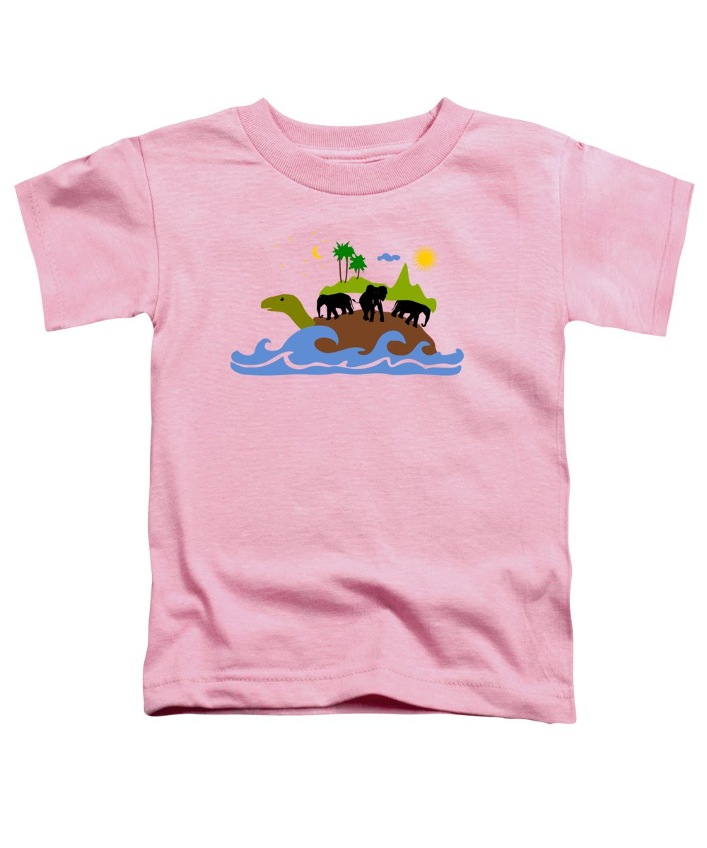 Expression Toddler T-Shirt featuring the mixed media Turtles All The Way Down by Anastasiya Malakhova