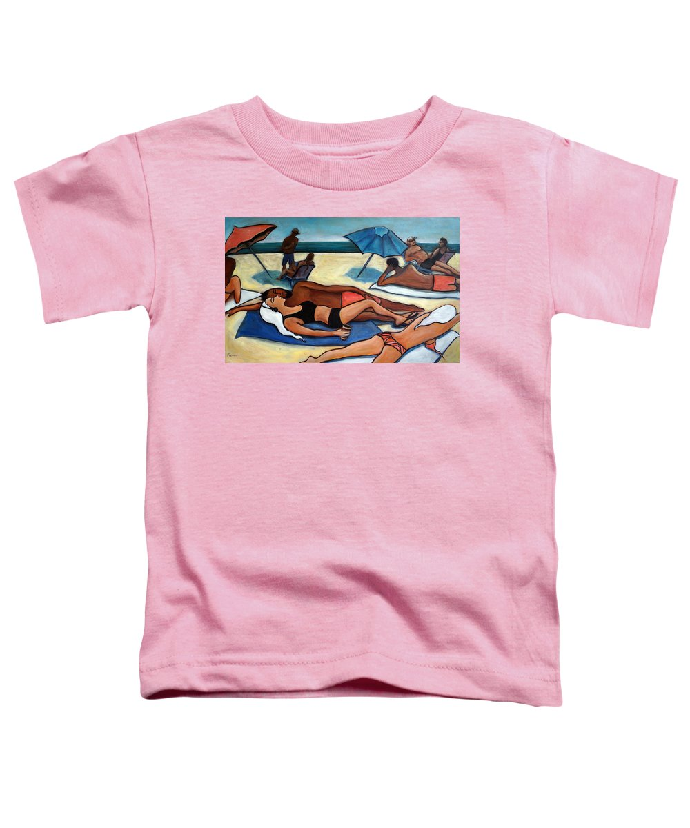 Beach Scene Toddler T-Shirt featuring the painting Un Journee A La Plage by Valerie Vescovi