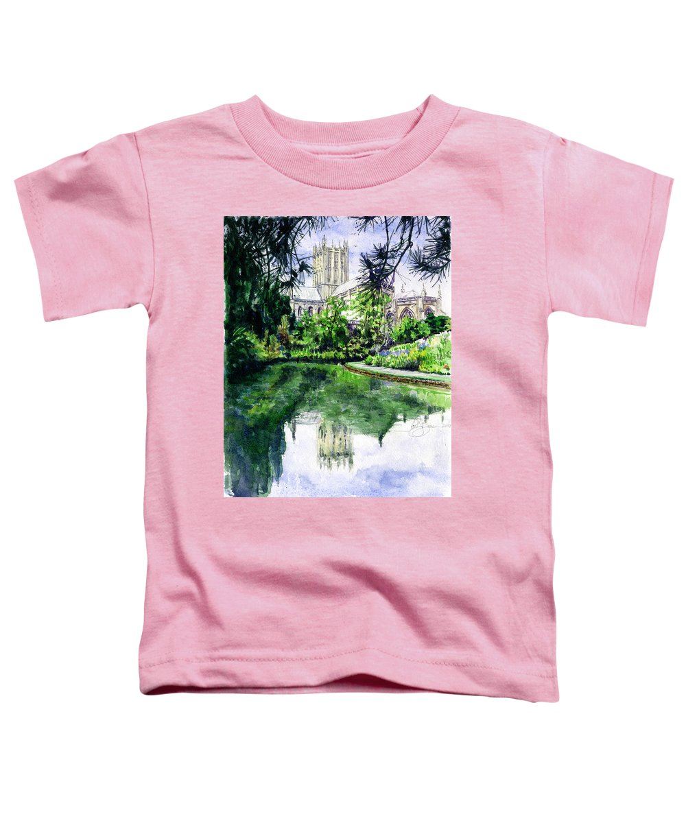 Wells Toddler T-Shirt featuring the painting Wells Cathedral by John D Benson