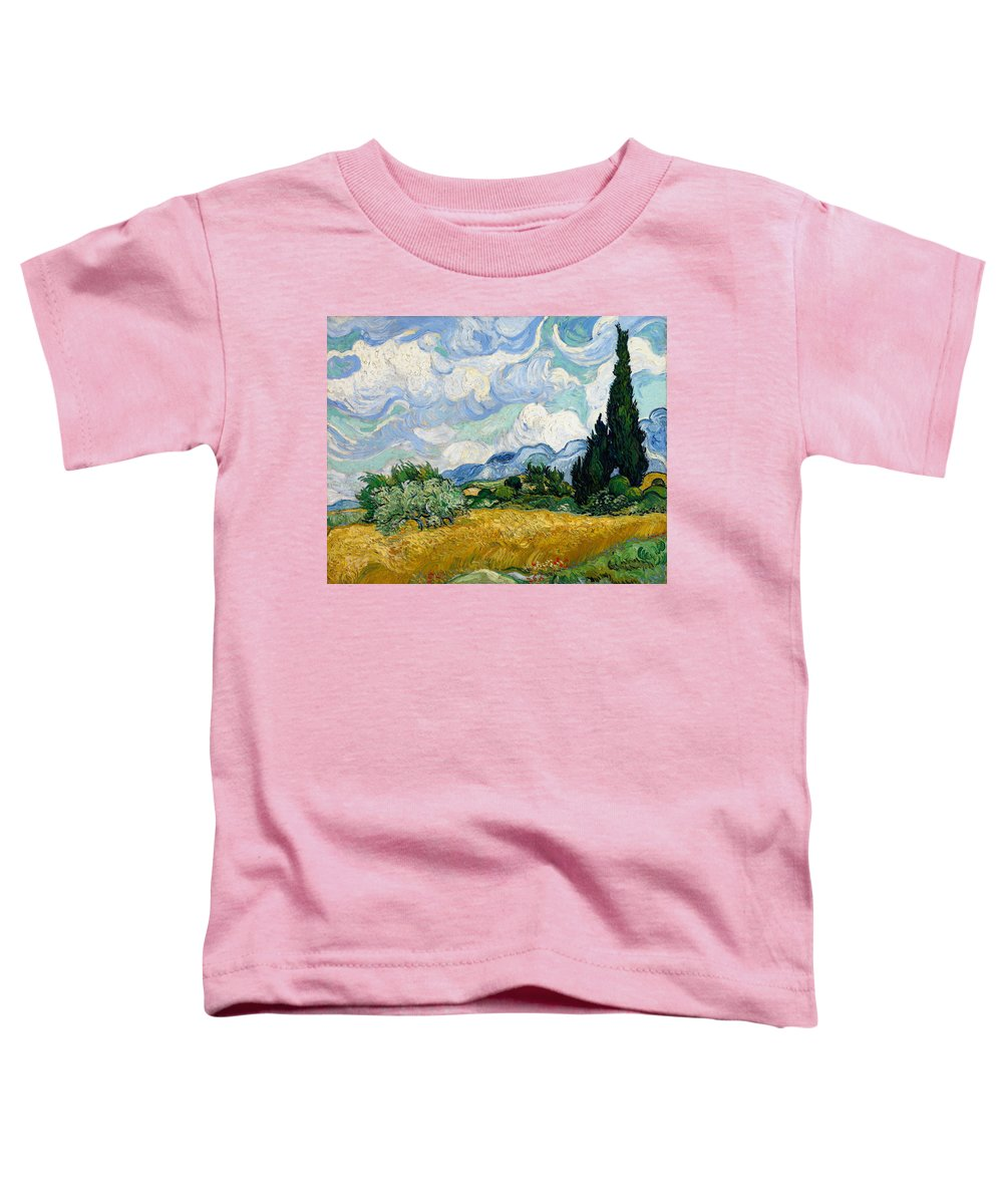 Van Gogh Toddler T-Shirt featuring the painting Wheat Field With Cypresses by Vincent van Gogh