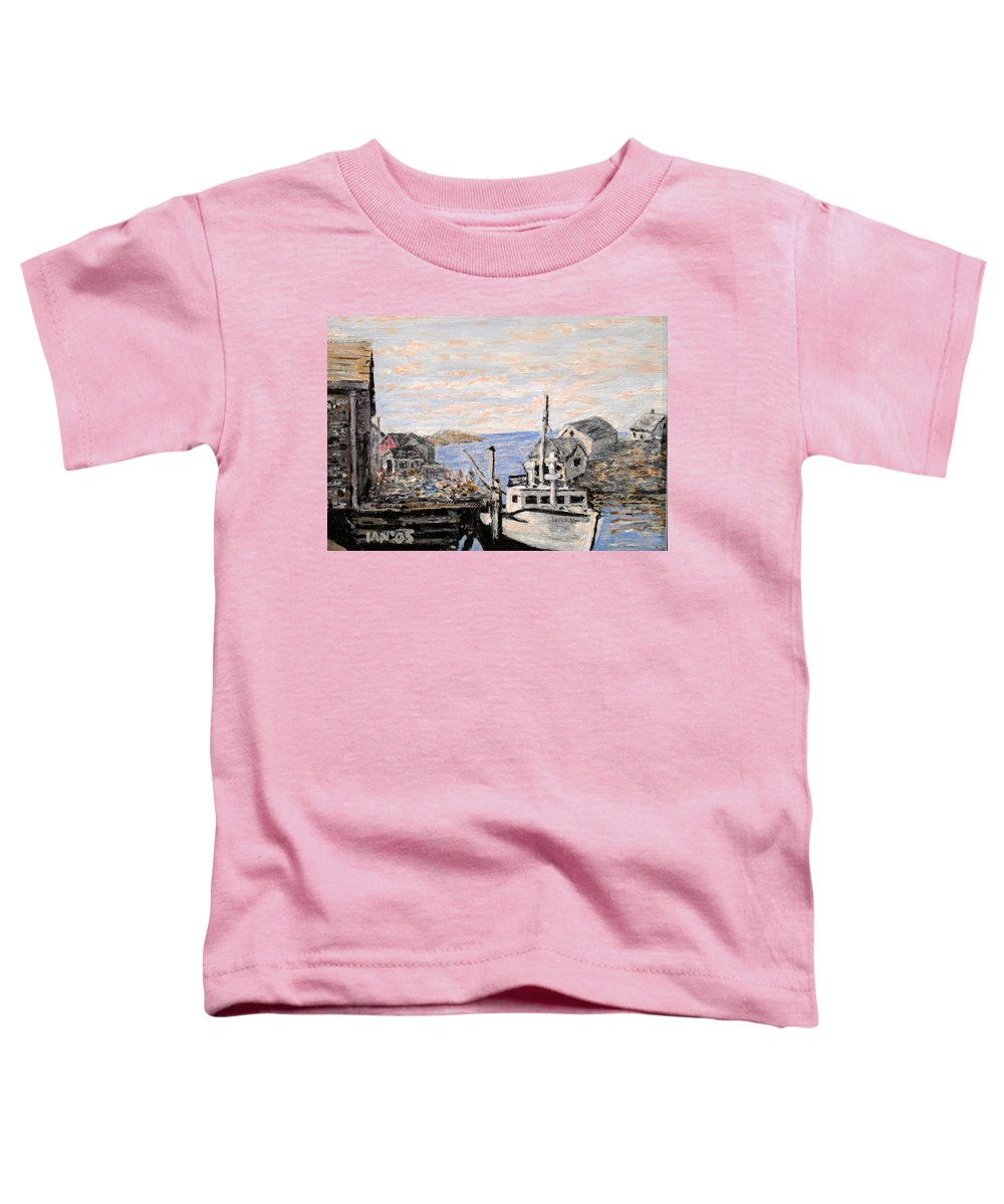 White Toddler T-Shirt featuring the painting White Boat In Peggys Cove Nova Scotia by Ian MacDonald