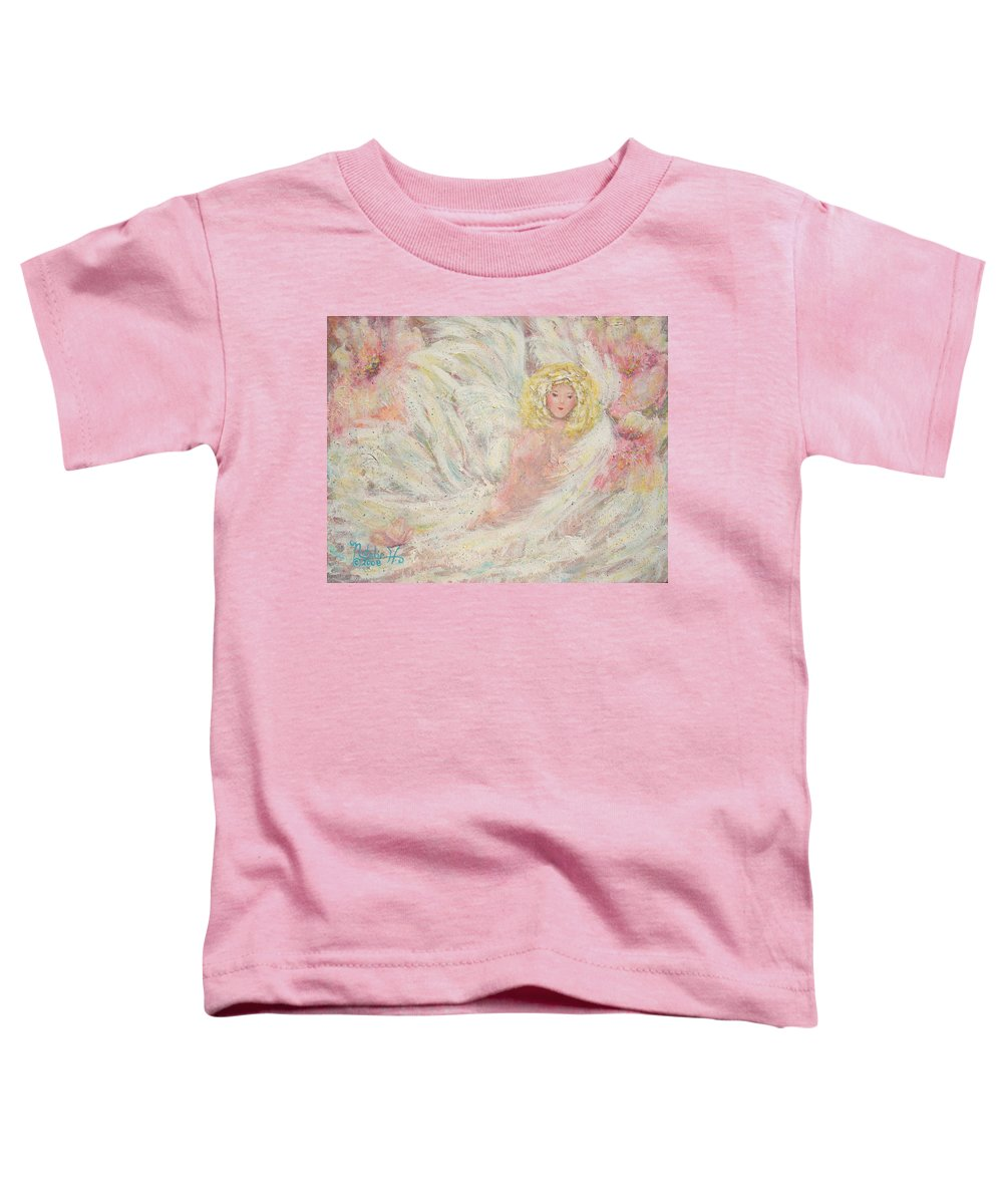 Angel Toddler T-Shirt featuring the painting White Feathers Secret Garden Angel 4 by Natalie Holland