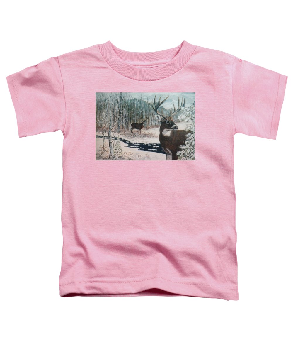 Deer; Snow; Creek Toddler T-Shirt featuring the painting Whitetail Deer by Ben Kiger