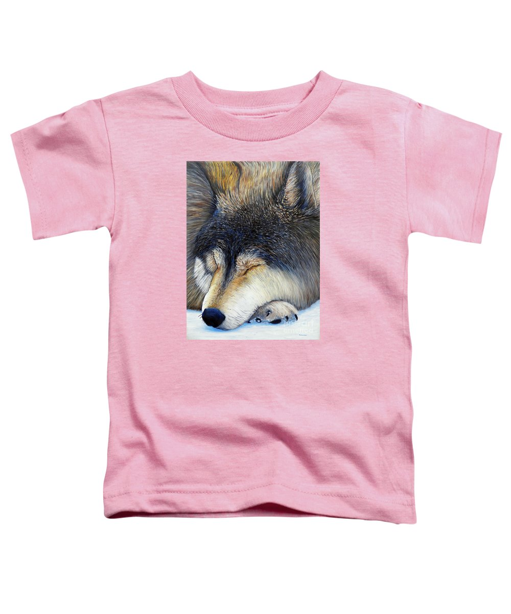 Wolf Toddler T-Shirt featuring the painting Wolf Dreams by Brian Commerford