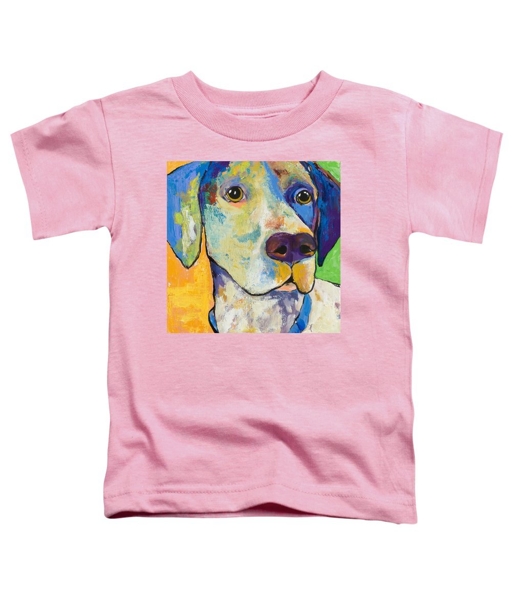 German Shorthair Animalsdog Blue Yellow Acrylic Canvas Toddler T-Shirt featuring the painting Yancy by Pat Saunders-White