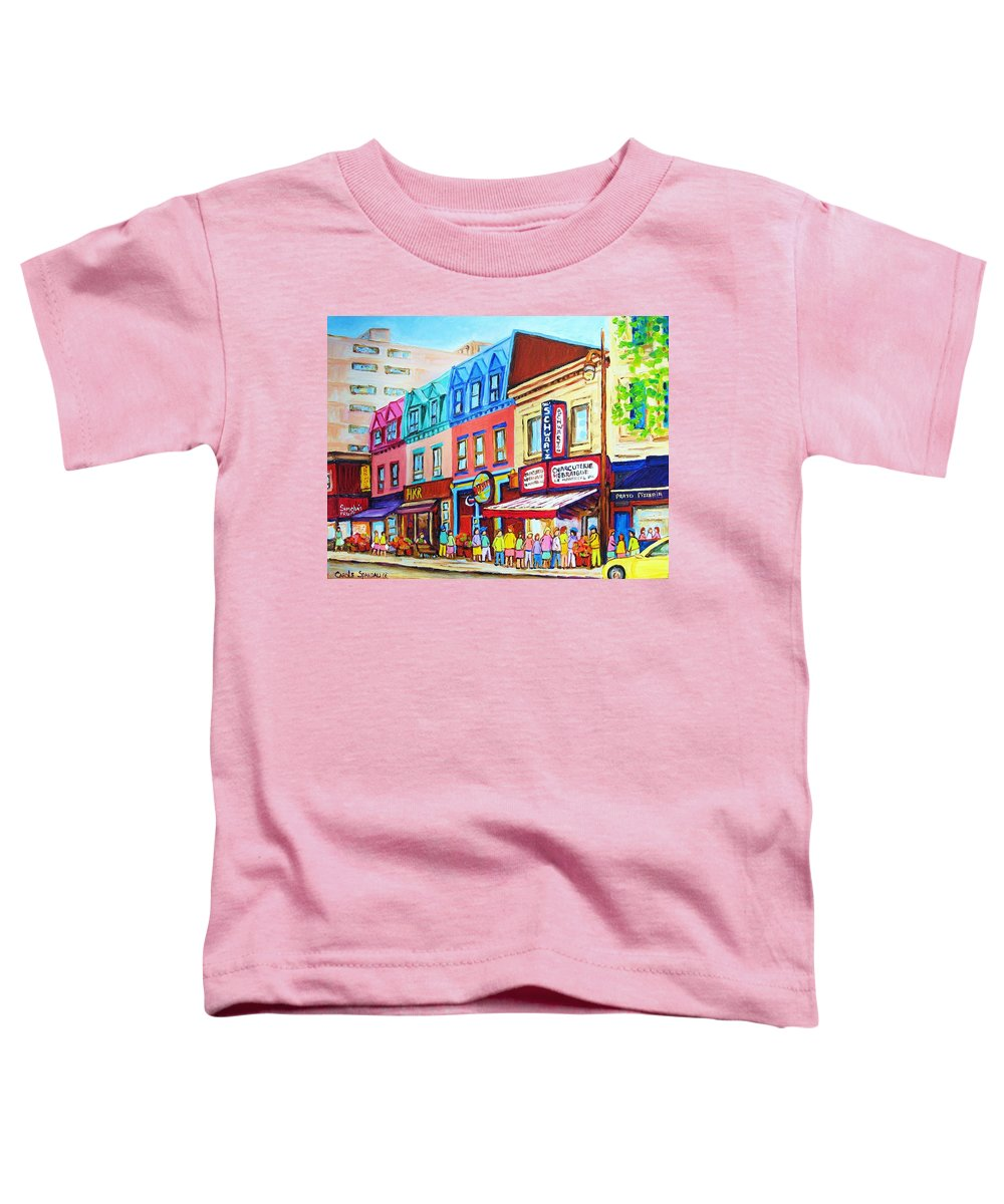 Reastarant Toddler T-Shirt featuring the painting Yellow Car At The Smoked Meat Lineup by Carole Spandau