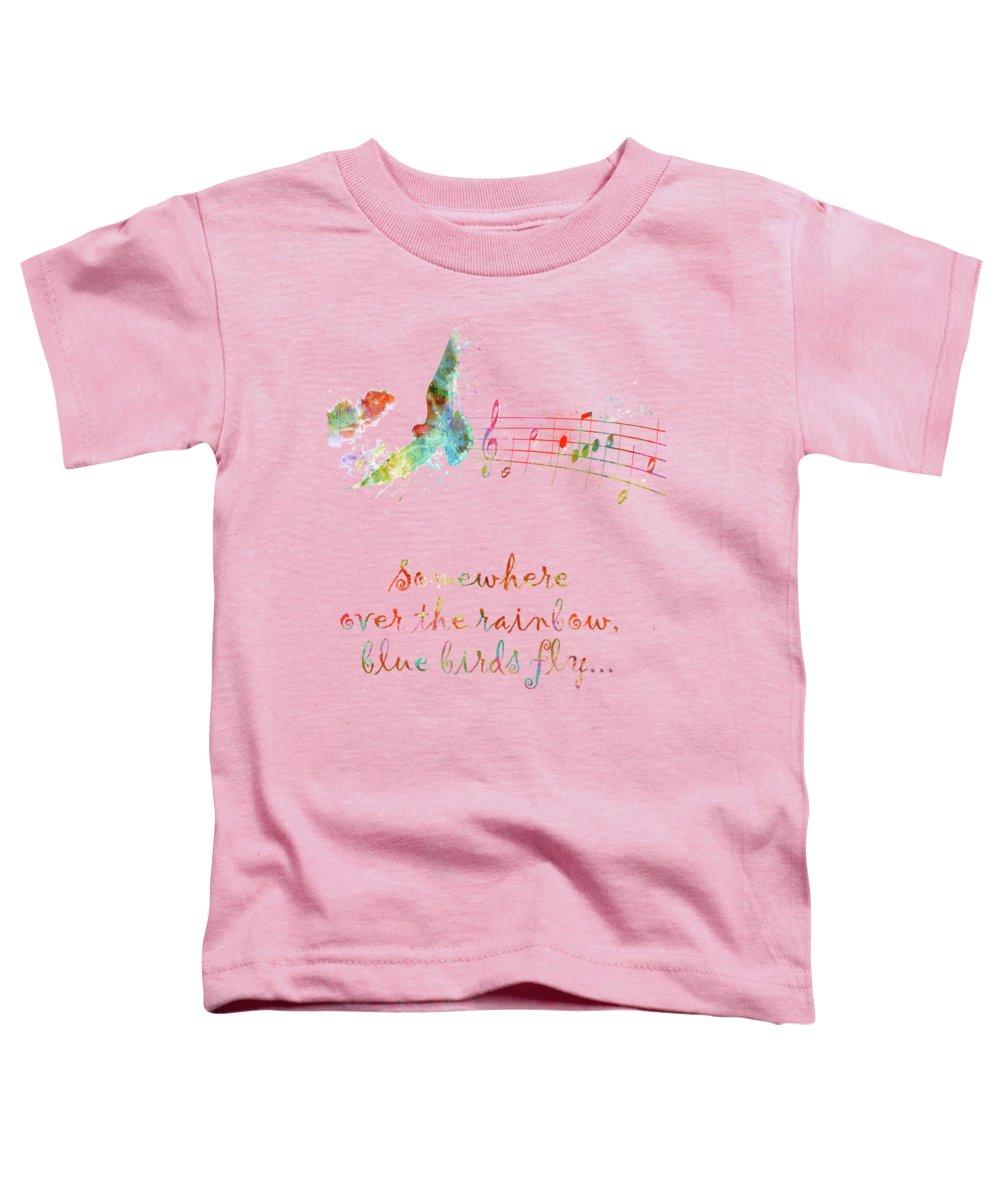 Bird Watercolor Digital Art Toddler T-Shirts