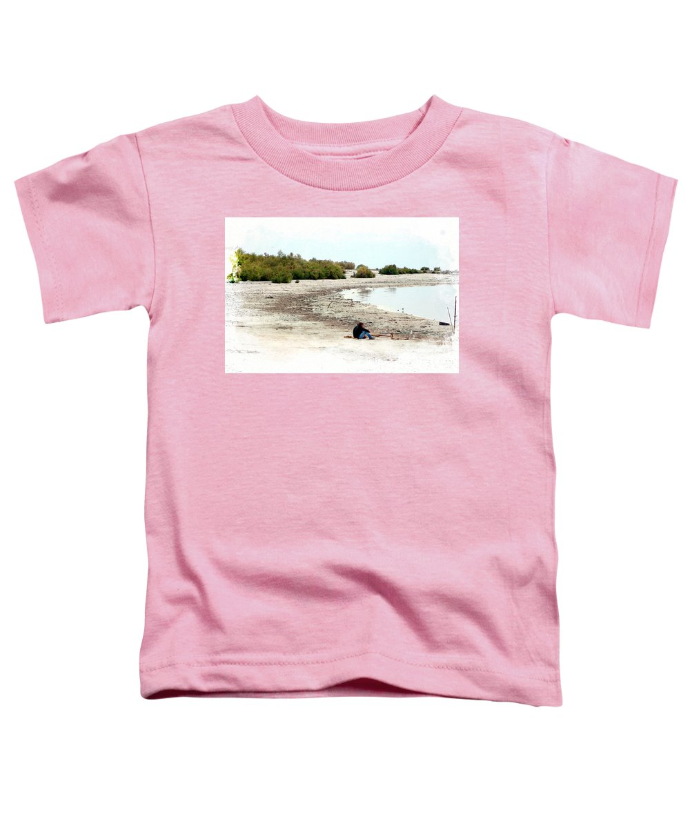 Watercolor Toddler T-Shirt featuring the photograph Beach Goers-The Salton Sea in Digital Watercolor by Colleen Cornelius