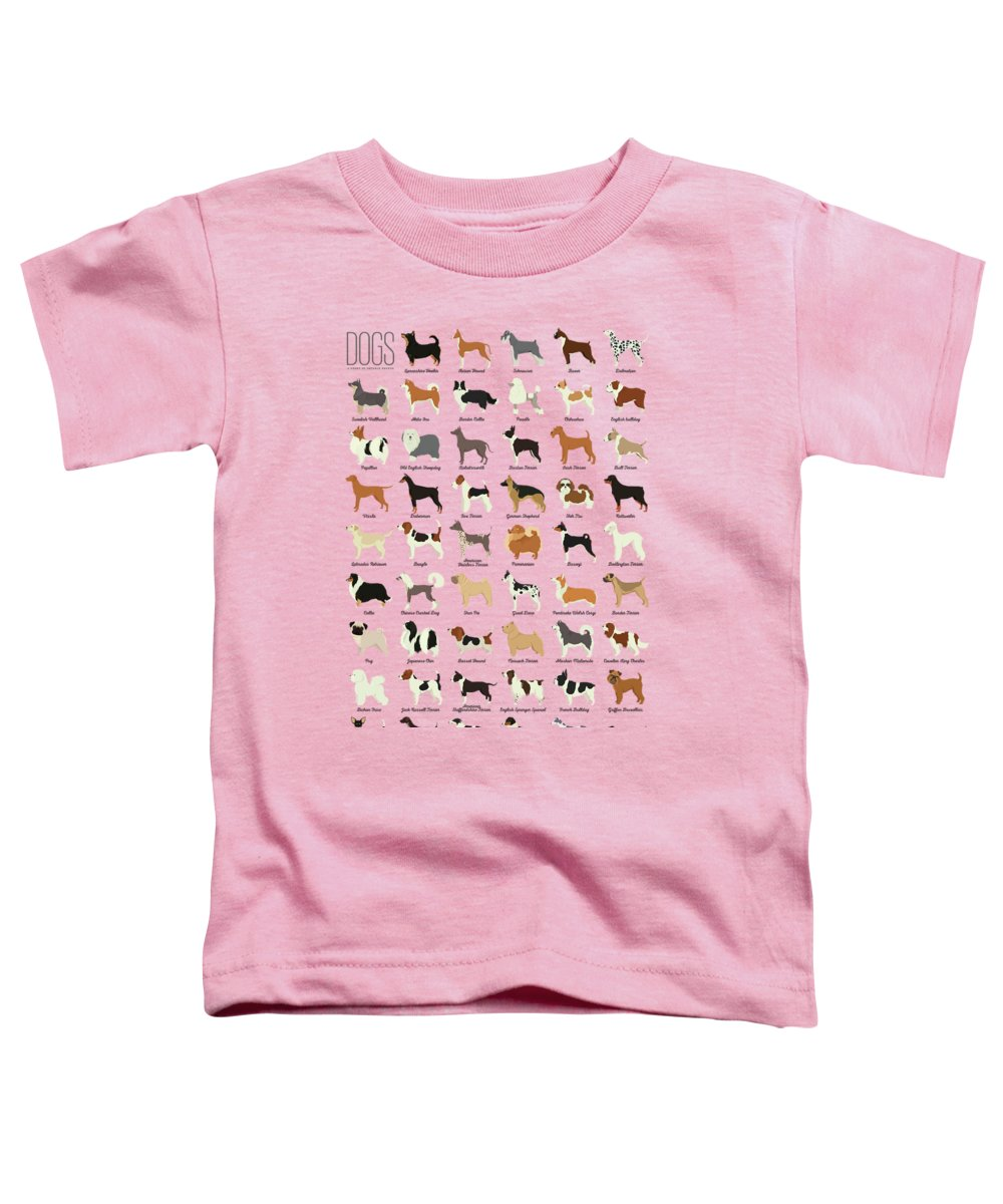 Dogs Toddler T-Shirt featuring the digital art Dog Breeds by Zapista OU