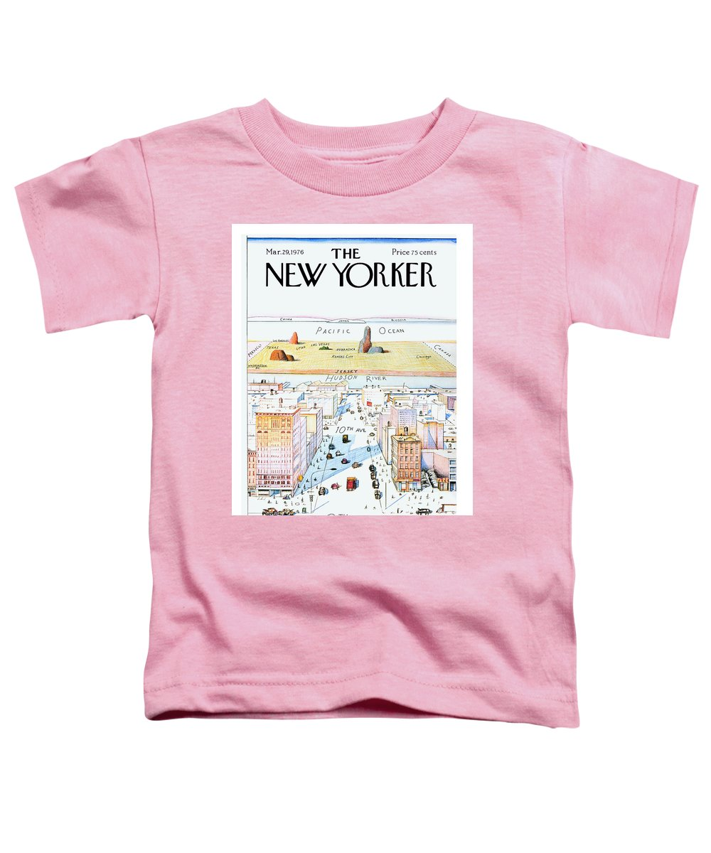 #condenastnewyorkercover Toddler T-Shirt featuring the painting New Yorker March 29, 1976 by Saul Steinberg