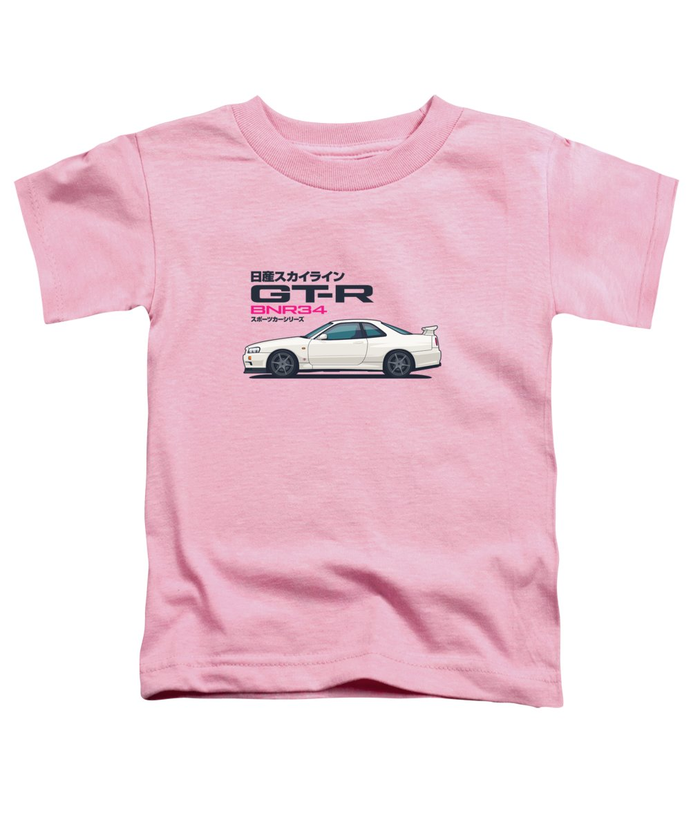Gt-r Toddler T-Shirt featuring the digital art R34 Gt-r - Landscape White by Ivan Krpan