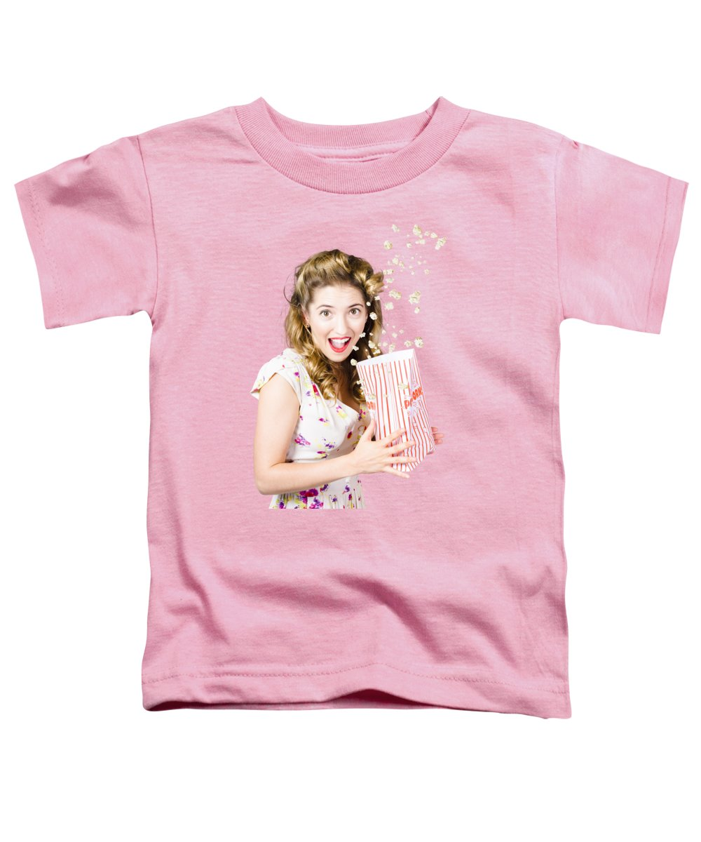 Movies Toddler T-Shirt featuring the photograph Shock Horror Pinup Girl Watching Scary Movie by Jorgo Photography - Wall Art Gallery