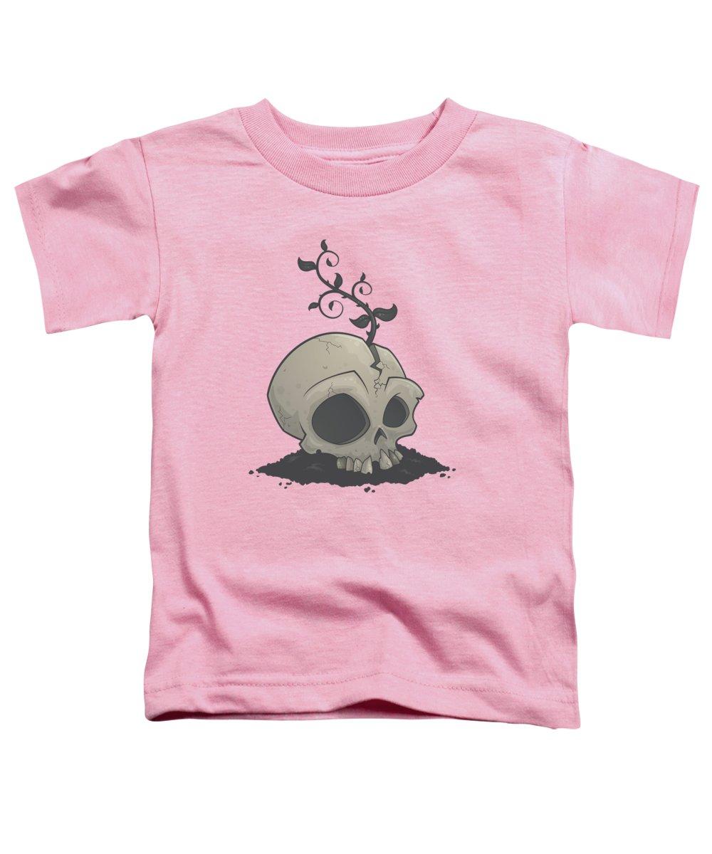 Sapling Toddler T-Shirt featuring the digital art Skull Garden by John Schwegel