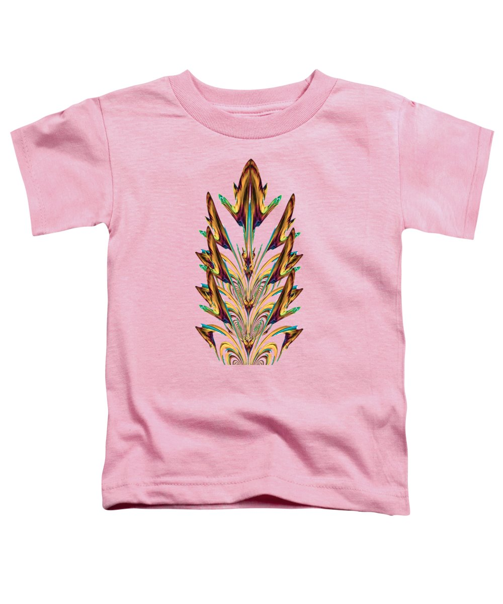 Printed Art Toddler T-Shirt featuring the digital art Spritual Bird Sitting On The Peacock Feather by Anita Morya