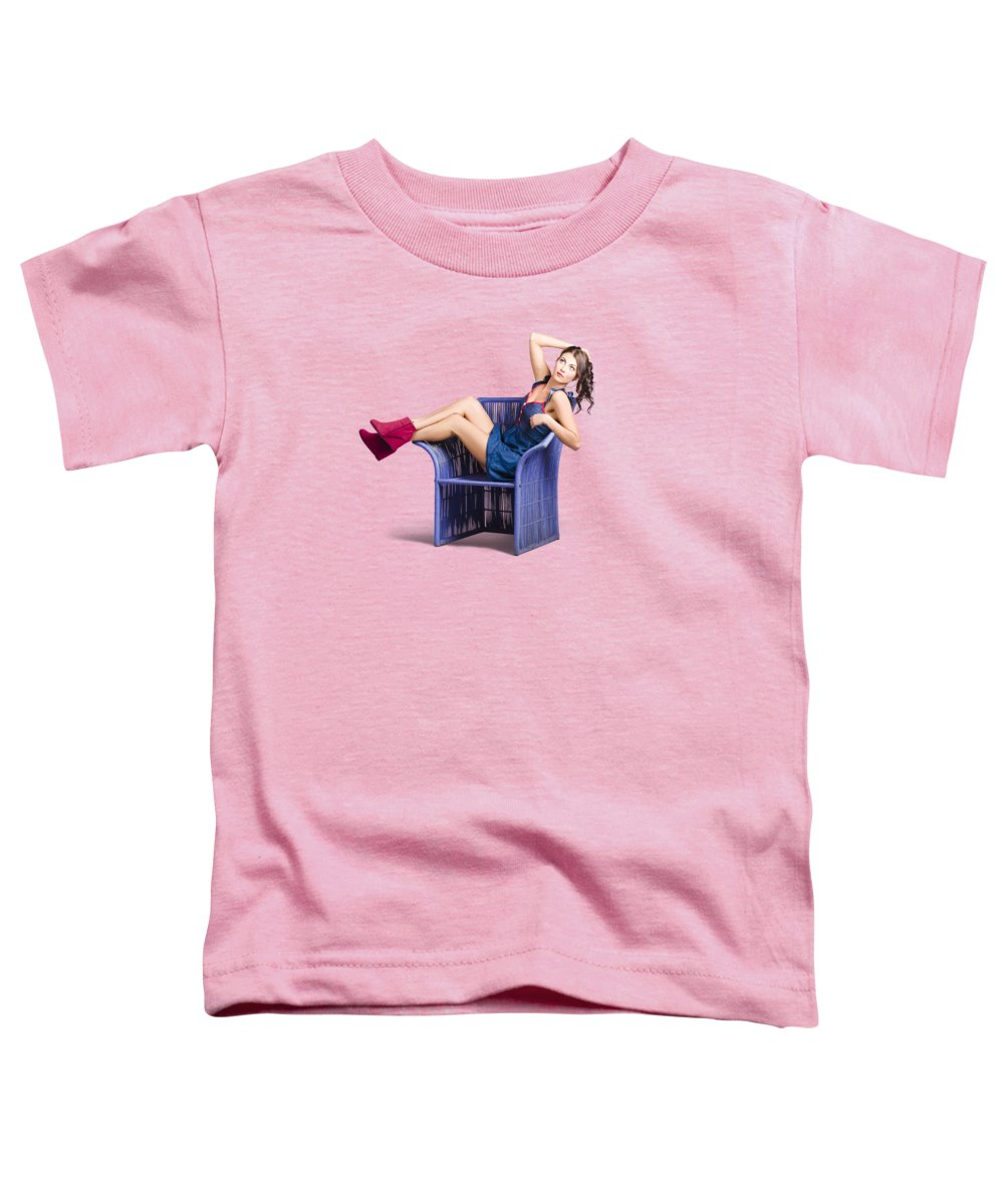 Salon Toddler T-Shirt featuring the photograph Woman Sitting On A Chair by Jorgo Photography - Wall Art Gallery
