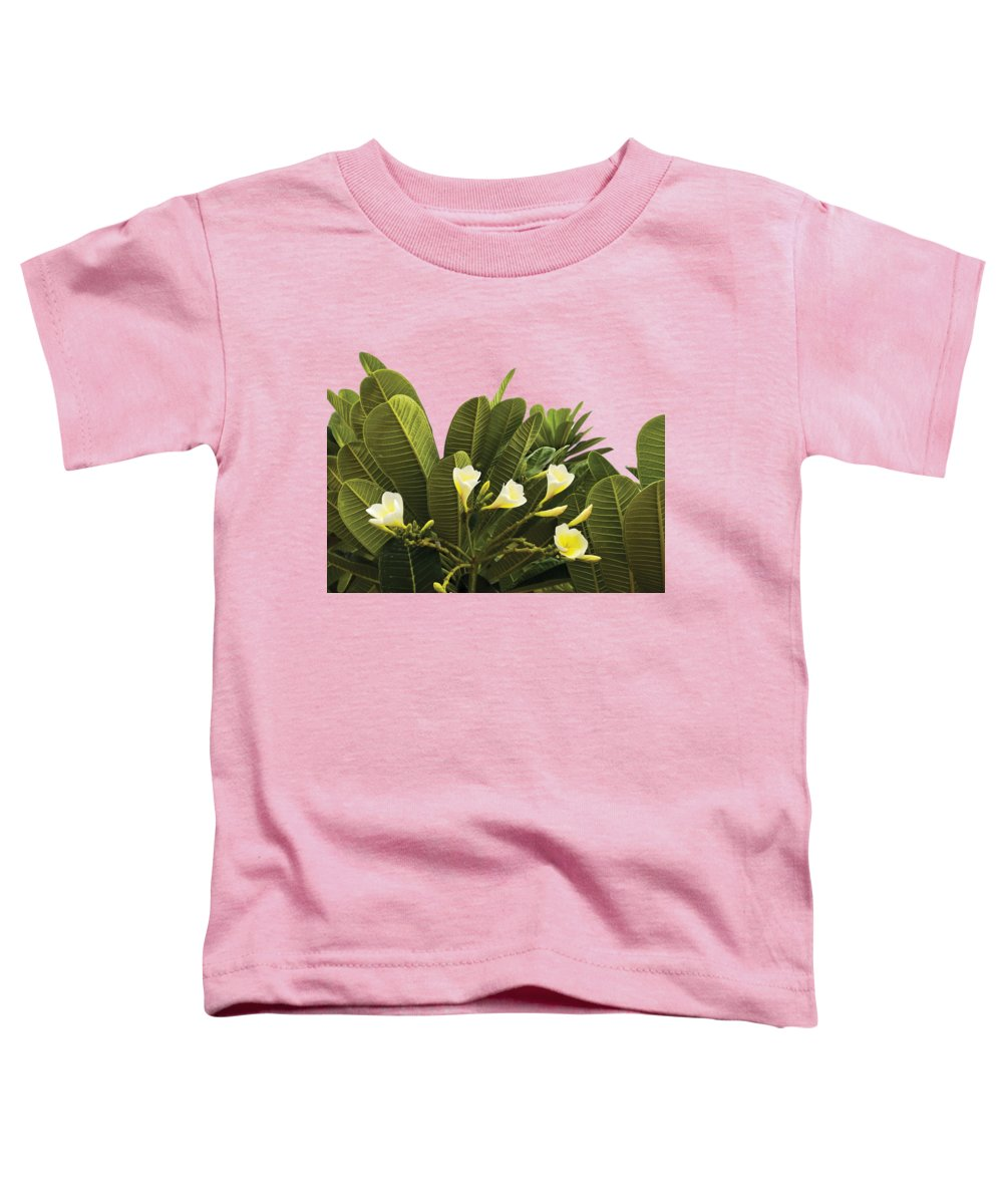 Floral Lover Toddler T-Shirt featuring the digital art Yellow Flowers With Dark Leaves by Anita Morya